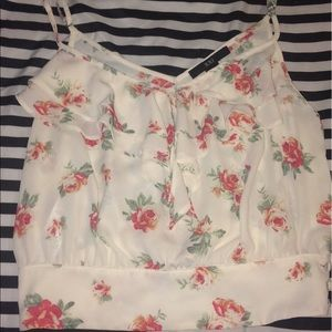 off white crop top with roses.